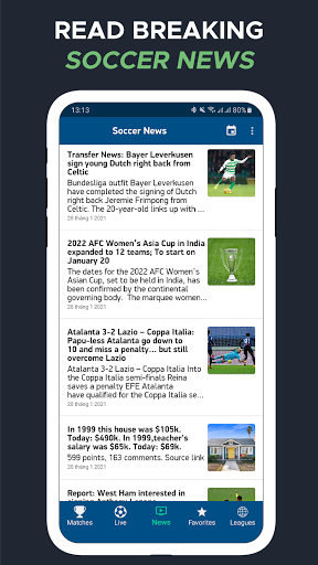 Live Score – Live Football Updates 5 تصوير الشاشة