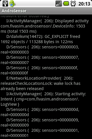 AndroSensor Log Collector screenshot 1