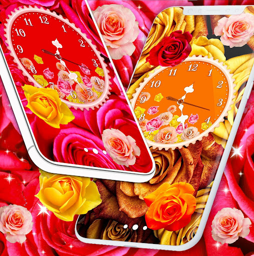 Rose Clock Live Wallpaper 🌹 4K Wallpapers Themes screenshot 1
