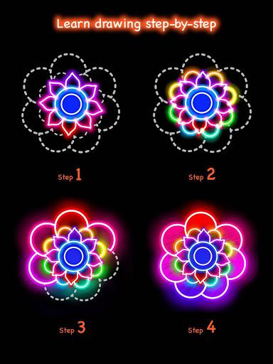 Learn To Draw Glow Flower скриншот 11