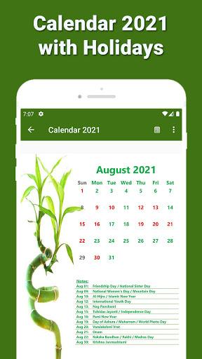 Calendar 2021 with Holidays 4 تصوير الشاشة