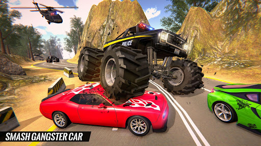 US Police Monster Truck Gangster Car Chase Games स्क्रीनशॉट 2