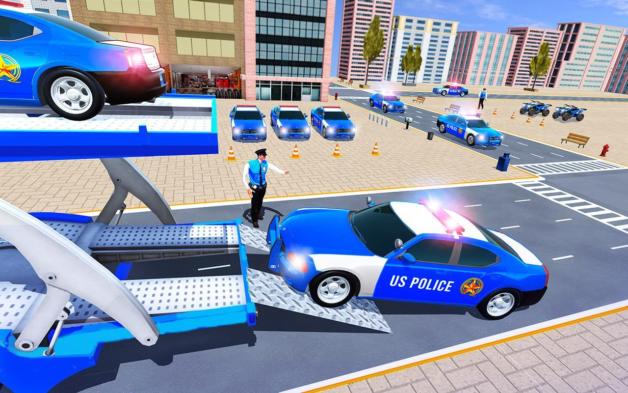 Us Police Car Transporter Truck Driving Simulator screenshot 8