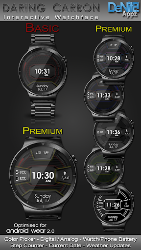 Daring Carbon HD WatchFace Widget Live Wallpaper 1 تصوير الشاشة