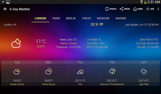 الطقس وويدجت الساعة لأندرويد - توقعات الأرصاد 9 تصوير الشاشة