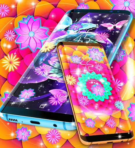 Neon flowers live wallpaper скриншот 4