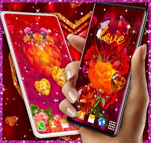 Diamond Hearts Live Wallpaper 💎 Love 4K Wallpaper 7 تصوير الشاشة
