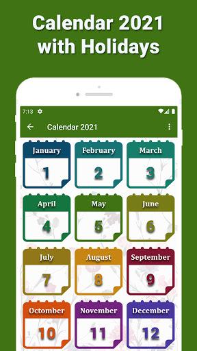 Calendar 2021 with Holidays 1 تصوير الشاشة