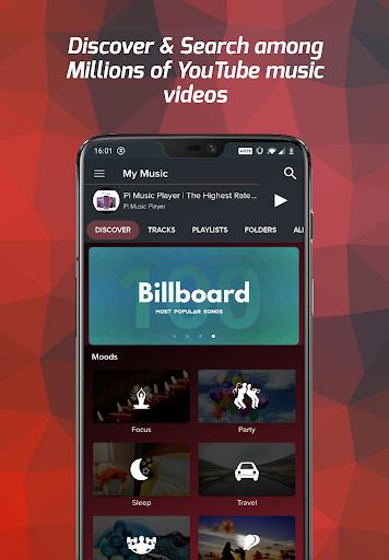 Pi Music Player - Free Music Player, YouTube Music 1 تصوير الشاشة