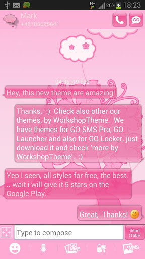 Animal Theme Pink GO SMS Pro screenshot 2