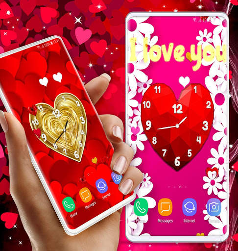 Love Analog Clock ❤️ Watch Live Wallpaper Hearts screenshot 5