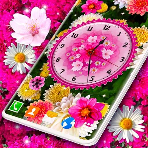 Flower Blossoms Clock 🌺 Spring 4K Live Wallpaper