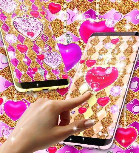 Golden luxury diamond hearts live wallpaper screenshot 3