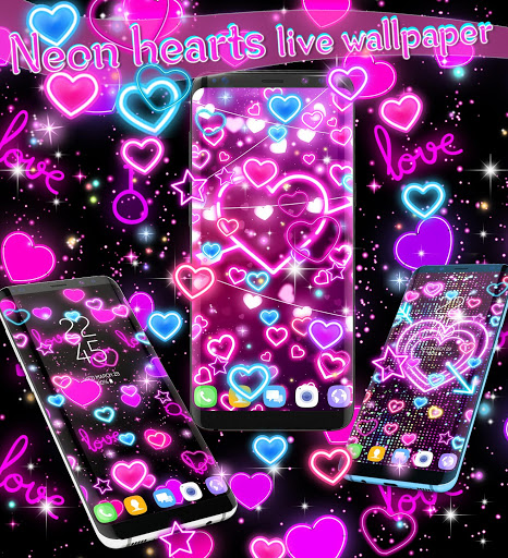 Neon hearts live wallpaper 5 تصوير الشاشة