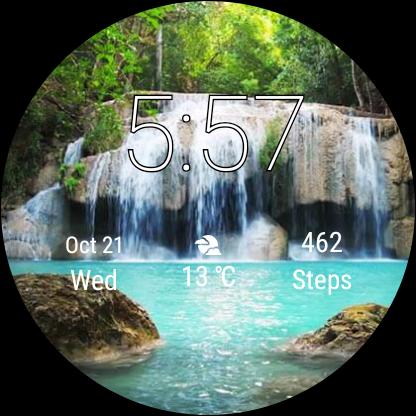 Watch Face Waterfall Wallpaper- Wear OS Smartwatch screenshot 6