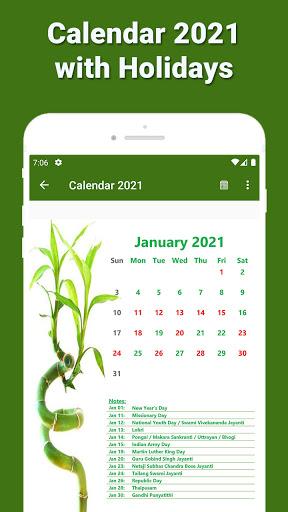 Calendar 2021 with Holidays 2 تصوير الشاشة