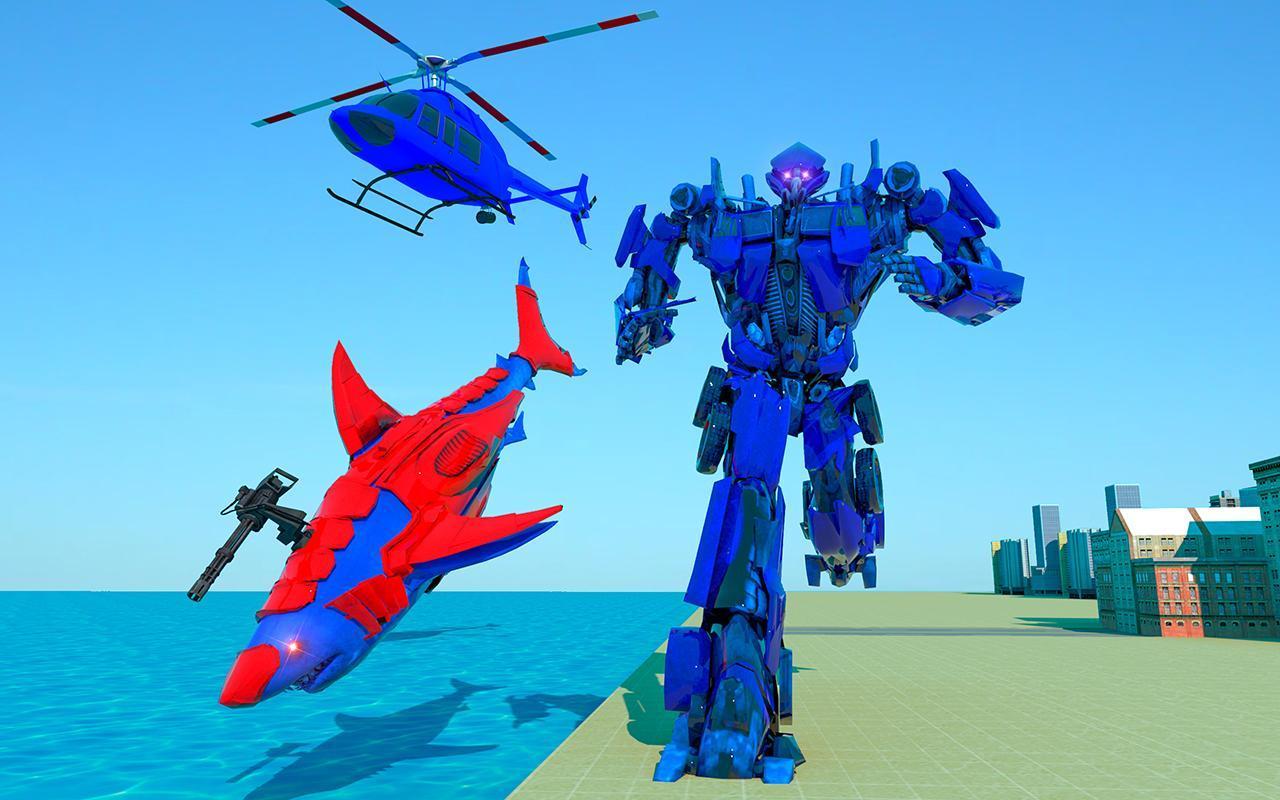 Grand Shark Robot Car Transformation War 1 تصوير الشاشة