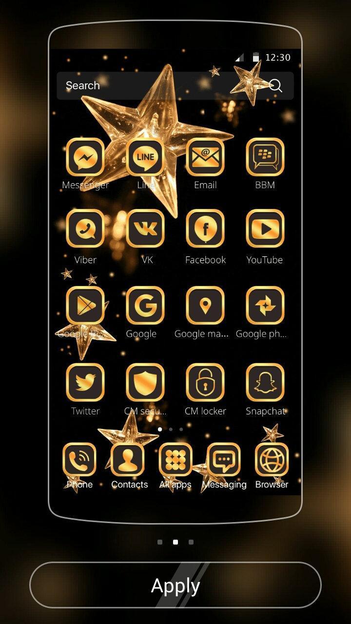 Gold Star Theme Wallpaper Lux Black Gold 2 تصوير الشاشة