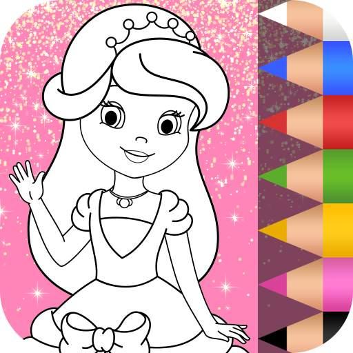 Princess Coloring Book Glitter & Girls Dress Up