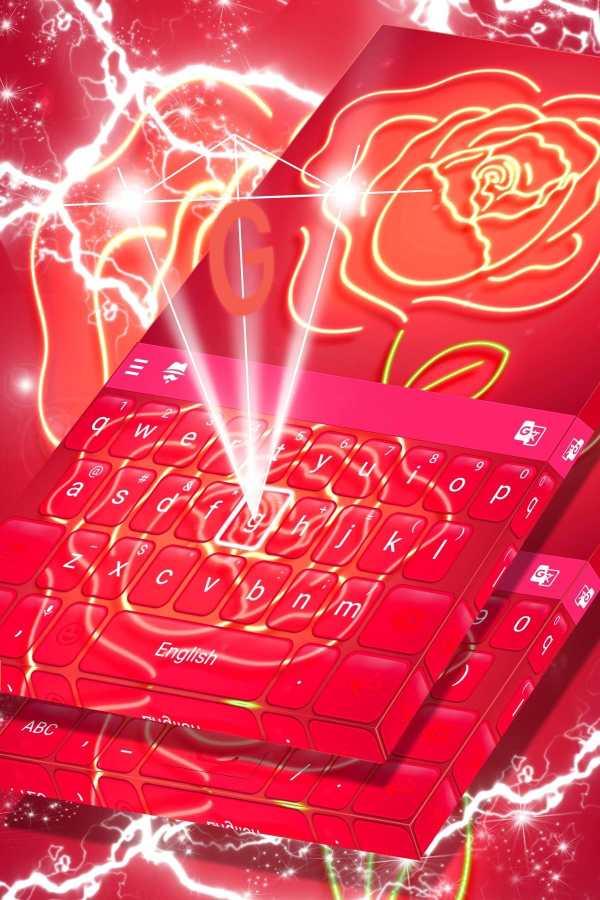 Red Neon Rose Keyboard Theme screenshot 1