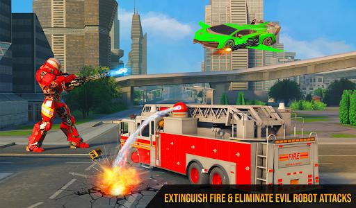 Flying Firefighter Truck Transform Robot Games screenshot 8