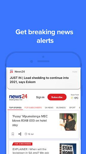 News24: Breaking News. First 1 تصوير الشاشة