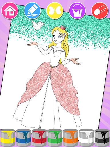 Princess Coloring Book Glitter & Girls Dress Up screenshot 2