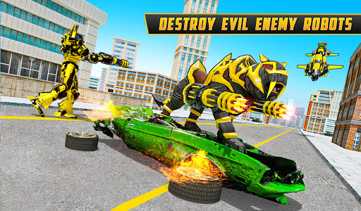 Flying Motobike Robot Transform Panther Robot Game screenshot 5