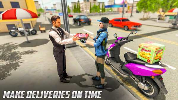 Scooty Bike Pizza Delivery Girl Simulator screenshot 3