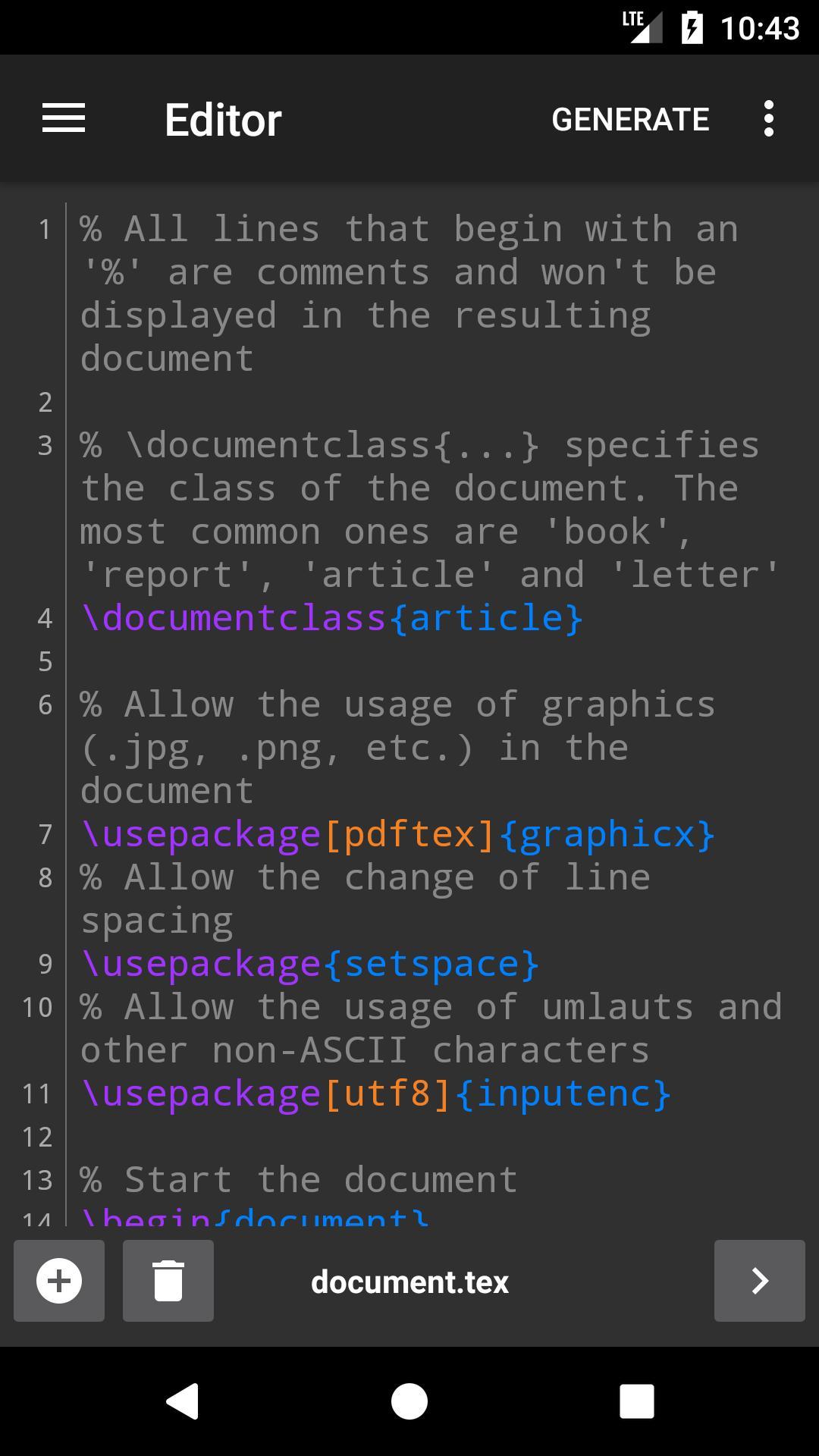 VerbTeX LaTeX Editor screenshot 1