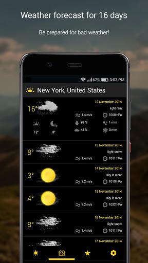 الطقس لمدة 16 يوما 3 تصوير الشاشة