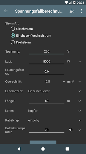 Elektro Berechnungen screenshot 3