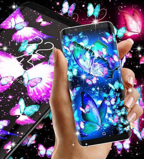 Neon butterflies glowing live wallpaper 3 تصوير الشاشة