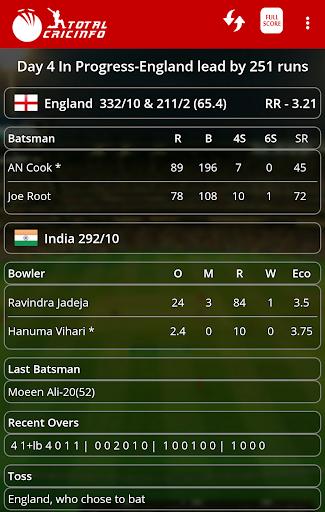 Live Cricket Scores & Updates -Total Cricinfo 4 تصوير الشاشة