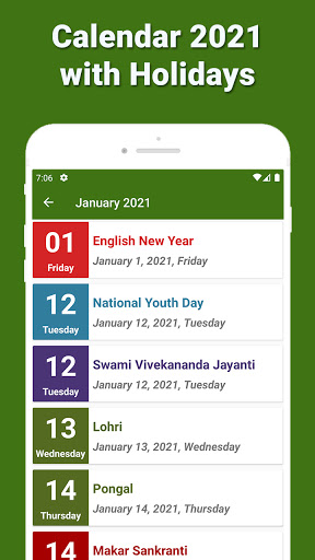Calendar 2021 with Holidays 3 تصوير الشاشة