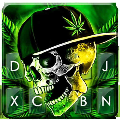 ثيم لوحة المفاتيح Rasta Weed Skull أيقونة