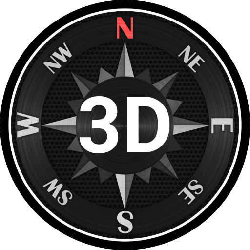 3D الصلب البوصلة أيقونة