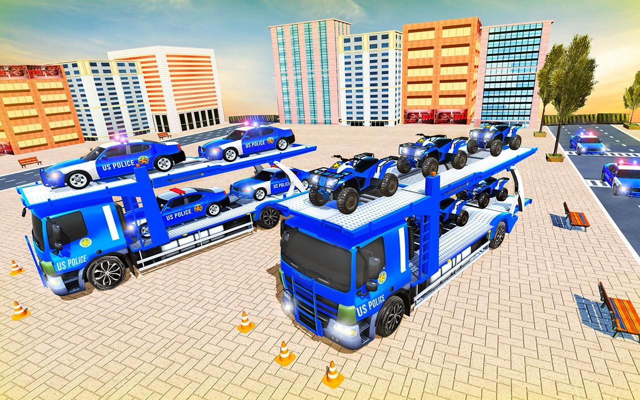 Us Police Car Transporter Truck Driving Simulator screenshot 14