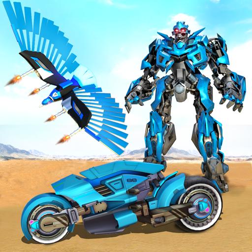 Flying Police Eagle Bike Robot Hero: Robot Games icon