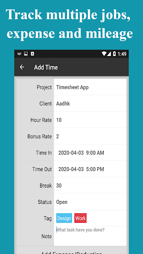Timesheet - Time Card - Work Hours - Work Log screenshot 7