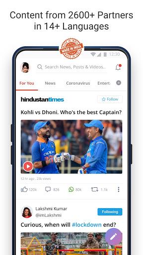Dailyhunt - 100% Indian App for News & Videos screenshot 1