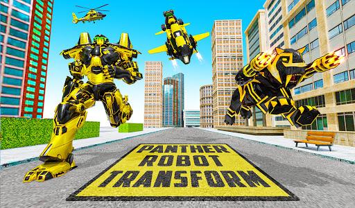 Flying Motobike Robot Transform Panther Robot Game screenshot 6