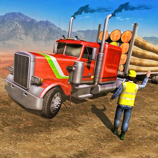 American Truck Cargo Car Transporter Driving icon