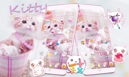 Cute Pink Kitty Theme screenshot 1