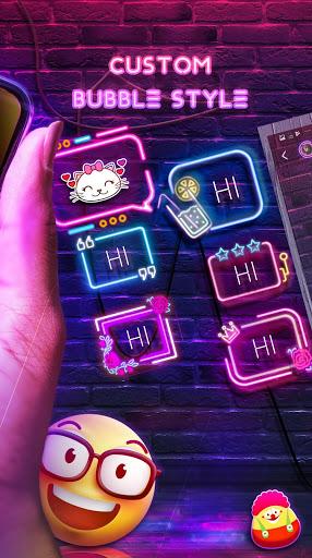 Neon Messenger for SMS - Emojis, original stickers screenshot 5