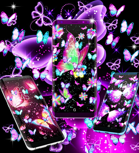 Neon butterflies glowing live wallpaper 5 تصوير الشاشة