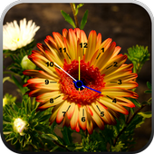 Flowers Clock Live Wallpaper أيقونة