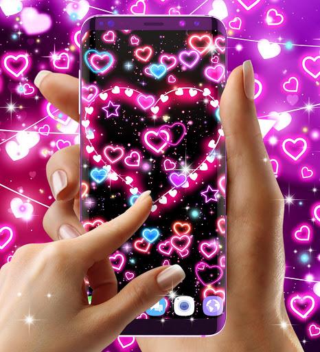 Neon hearts live wallpaper 4 تصوير الشاشة