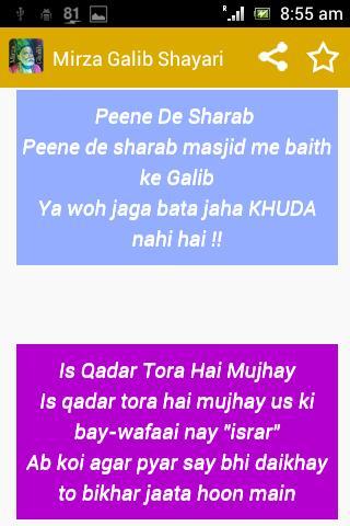 Mirza Ghalib Shayari SMS Ashar screenshot 5