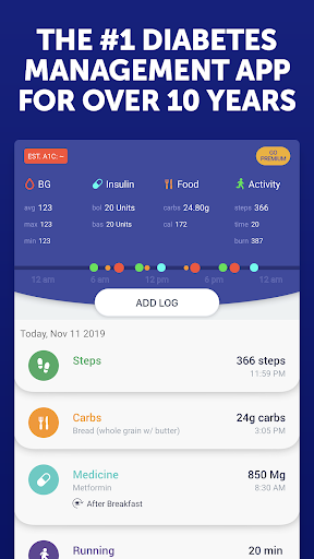 Glucose Buddy Diabetes Tracker screenshot 1